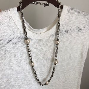 Givenchy Silvertone faux pearl necklace